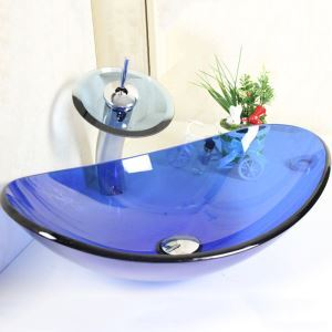 洗面ボウル&蛇口セット 手洗い鉢 洗面器 強化ガラス製 排水金具付 オシャレ 透明&青色 楕円型 VT0004