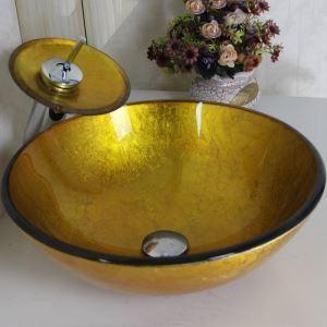 洗面ボウル&蛇口セット 手洗い鉢 洗面器 強化ガラス製 排水金具付 オシャレ 金色 丸型 VT0007