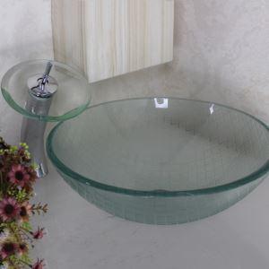 洗面ボウル&蛇口セット 手洗い鉢 洗面器 強化ガラス製 排水金具付 網柄 透明 VT0021