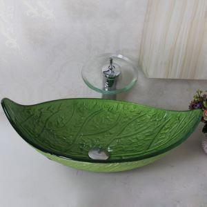 洗面ボウル&蛇口セット 手洗い鉢 洗面器 強化ガラス製 排水金具付 オシャレ 葉状 VT0026