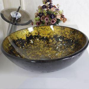 洗面ボウル&蛇口セット 手洗い鉢 洗面器 強化ガラス製 排水金具付 オシャレ VT0030