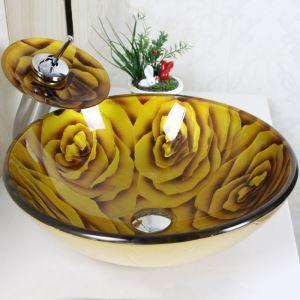 洗面ボウル&蛇口セット 手洗い鉢 洗面器 強化ガラス製 排水金具付 オシャレ 黄色ローズ柄 VT0031