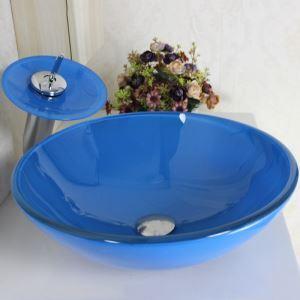 洗面ボウル&蛇口セット ガラス洗面器 手洗い鉢 排水金具付 青色 丸型 VT0050