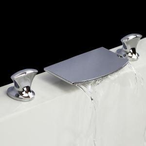 バス水栓 洗面蛇口 浴槽水栓 冷熱混合栓 滝状吐水口 2ハンドル ヘアライン HY476