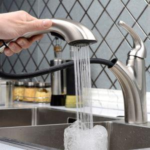 キッチン蛇口 台所蛇口 引出し式水栓 冷熱混合水栓 水道蛇口 ヘアライン