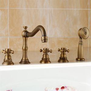 浴槽蛇口 バス水栓 シャワー混合水栓 ハンドシャワー付 水道蛇口 3ハンドル ブラス色