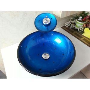 洗面ボウル&蛇口セット 手洗い鉢 洗面器 強化ガラス製 排水金具付 オシャレ VT0035
