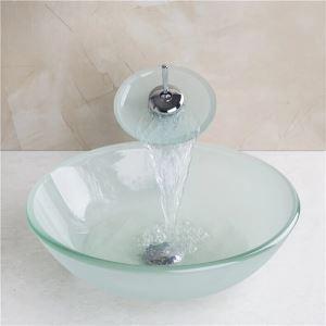 洗面ボウル&蛇口セット 手洗い鉢 洗面器 強化ガラス製 排水金具付 フロスト 純色 T12mm