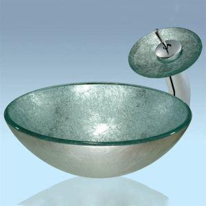 洗面ボウル&蛇口セット 手洗い鉢 洗面器 強化ガラス製 排水金具付 オシャレ VT0041