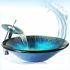 洗面ボウル&蛇口セット ガラス洗面器 手洗器 洗面ボール 手洗い鉢 洗面台 排水金具付 青色 VT0033