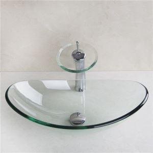 透明洗面ボウル&蛇口セット 手洗い鉢 洗面器 強化ガラス製 排水金具付