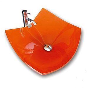 洗面ボウル 手洗い鉢 洗面器 洗面ボール ガラス 排水金具付 オシャレ オレンジ VT4019