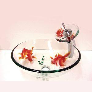 透明洗面ボウル&蛇口セット 洗面器 手洗い鉢 金魚柄 洗面ボール 排水金具付 VT4010