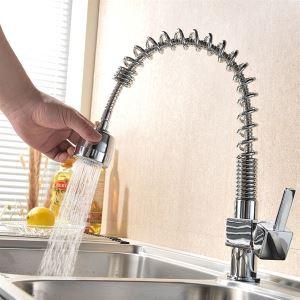 キッチン蛇口 引出し式水栓 台所蛇口 冷熱混合栓 水道蛇口 整流&シャワー吐水式 クロム