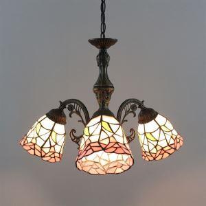 シャンデリア ステンドグラスランプ ティファニーライト リビング照明 照明器具 天井照明 花型 3灯