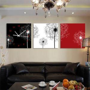 壁掛け時計 壁絵画時計 静音時計 キャンバス時計 壁飾り オシャレ 3枚パネル タンポポ