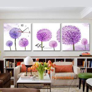 壁掛け時計 壁絵画時計 静音時計 壁飾り オシャレ 紫色タンポポ 3枚パネル