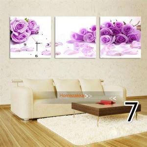壁掛け時計 壁絵画時計 静音時計 壁飾り オシャレ 3枚パネル 紫色花柄