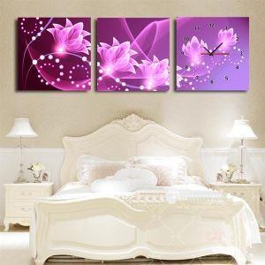 壁掛け時計 壁絵画時計 静音時計 壁飾り オシャレ 3枚パネル 紫色