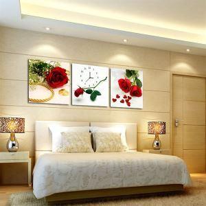 壁掛け時計 壁絵画時計 静音時計 壁飾り オシャレ 3枚パネル ローズ