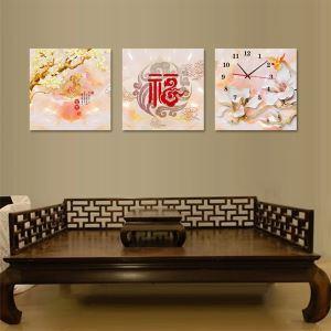 壁掛け時計 壁絵画時計 静音時計 壁飾り オシャレ 3枚パネル 福