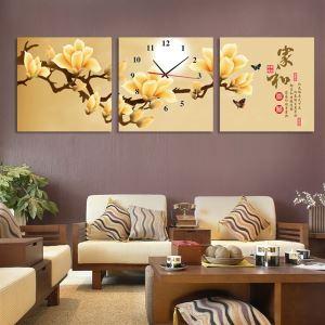 壁掛け時計 壁絵画時計 静音時計 壁飾り オシャレ 3枚パネル ハクモクレン