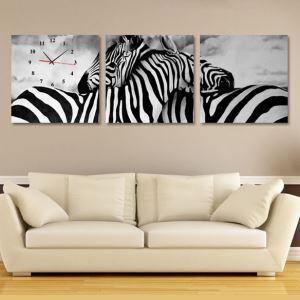 壁掛け時計 壁絵画時計 静音時計 壁飾り オシャレ 3枚パネル シマウマ