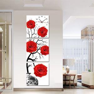 壁掛け時計 壁絵画時計 静音時計 壁飾り オシャレ 3枚パネル レッドローズ