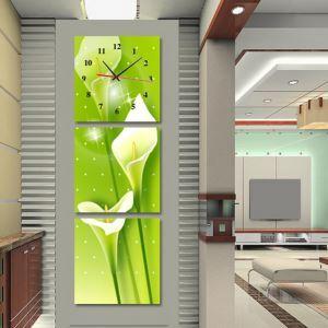 壁掛け時計 壁絵画時計 静音時計 壁飾り オシャレ 3枚パネル ミドリ・オランダカイウ