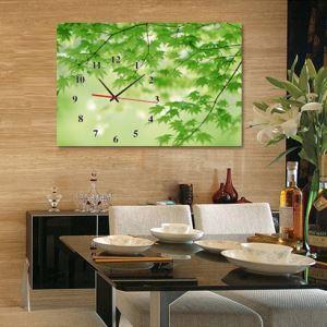 壁掛け時計 壁絵画時計 静音時計 キャンバス時計 壁飾り おしゃれ 1枚パネル 葉