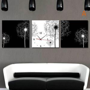 壁掛け時計 壁絵画時計 静音時計 キャンバス時計 オシャレ 3枚パネル 黒白タンポポ A/B