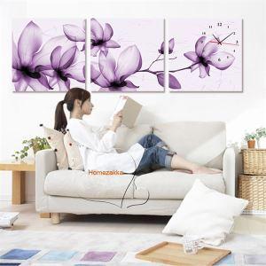 壁掛け時計 壁絵画時計 静音時計 壁飾り オシャレ 3枚パネル 紫色ハクモクレン