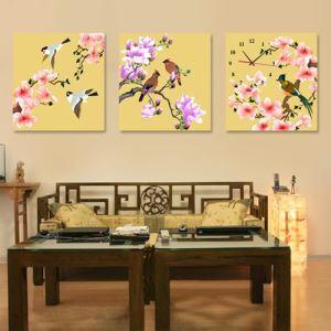 壁掛け時計 絵画時計 静音時計 壁飾り オシャレ 3枚パネル 花&鳥