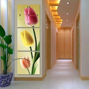 壁掛け時計 壁絵画時計 静音時計 壁飾り オシャレ 3枚パネル チューリップ