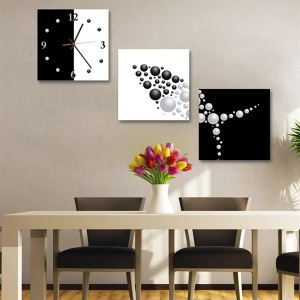 壁掛け時計 壁絵画時計 静音時計 壁飾り オシャレ 3枚パネル 幾何柄