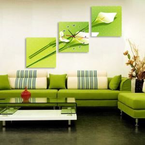 壁掛け時計 壁絵画時計 静音時計 壁飾り オシャレ 3枚パネル オランダカイウ