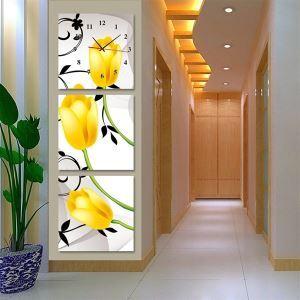壁掛け時計 壁絵画時計 静音時計 壁飾り オシャレ 3枚パネル 黄色チューリップ