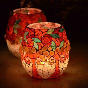 テーブルライト ステンドグラスランプ キャンドルホルダー ナイトライト ロマンティック モザイク 手作り おしゃれ