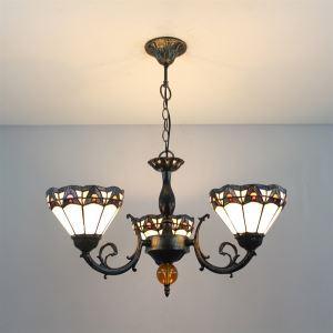 シャンデリア ステンドグラスランプ 照明器具 リビング照明 ダイニング照明 花柄A 3灯