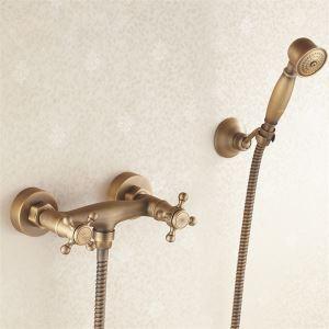 浴室シャワー水栓 バス蛇口 ハンドシャワー 水栓金具 混合水栓 2ハンドル付き ブロンズ色