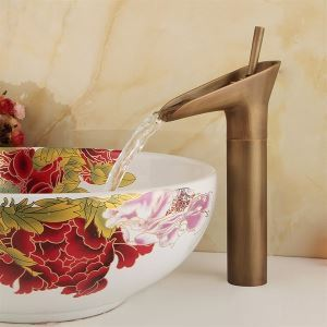 洗面蛇口 バス水栓 水道蛇口 冷熱混合水栓 酒杯型 ブロンズ色