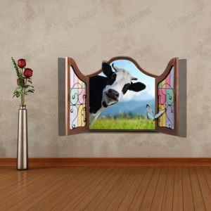 3Dウォールステッカー 転写式ステッカー 立体DIY PVCシール シート 窓前の乳牛柄 WS02066