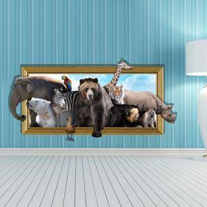 3Dウォールステッカー 転写式ステッカー 立体DIY PVCシール シート 動物世界柄 WS02070