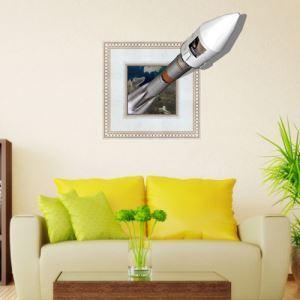3Dウォールステッカー 転写式ステッカー 立体DIY PVCシール シート ロケット柄 WS02078