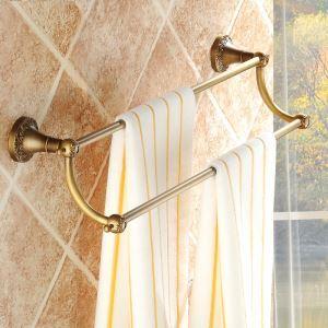 浴室二重タオルバー タオル掛け タオル収納 壁掛けハンガー バスアクセサリー アンティーク調 ブラス色 JWA019