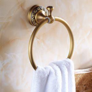浴室タオルリング タオル掛け タオル収納 壁掛けハンガー バスアクセサリー アンティーク調 ブラス色 LWA006