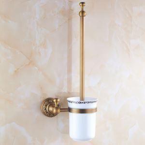 トイレブラシホルダー トイレ用品 トイレブラシ&ポット付き 真鍮製 アンティーク調 ブロンズ