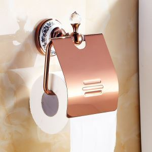 トイレットペーパーホルダー 紙巻器 トイレ用品 ペーパー収納 バスアクセサリー ローズゴールド 真鍮製 田舎風