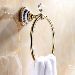 浴室タオルリング タオル掛け タオル収納 壁掛けハンガー バスアクセサリー Ti-PVD 金色 LWA081
