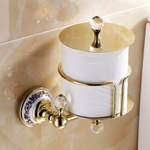 トイレットペーパーホルダー 紙巻器 トイレ用品 ペーパー収納 バスアクセサリー 金色 真鍮製 Ti-PVD